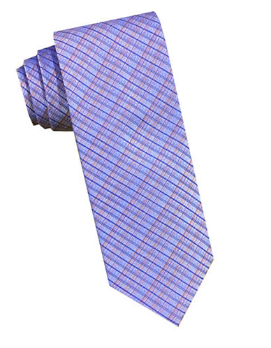 Perry Ellis Screen Woven Plaid Silk Tie-ORANGE-One Size