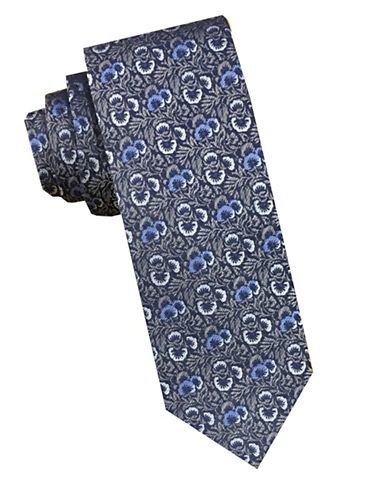 Perry Ellis Floral Silk Tie-GREY-One Size