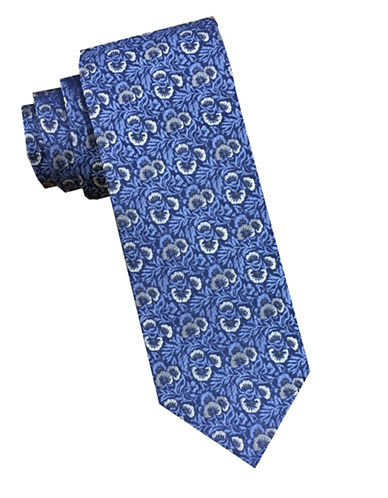 Perry Ellis Floral Silk Tie-BLUE-One Size