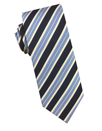 Perry Ellis Striped Silk Tie-NAVY-One Size