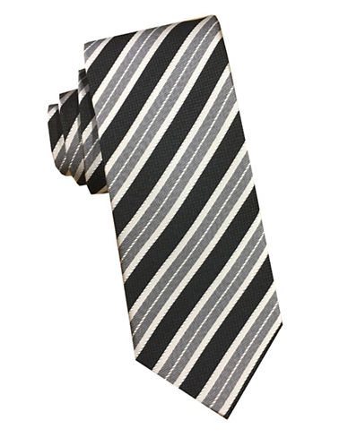 Perry Ellis Striped Silk Tie-BLACK-One Size