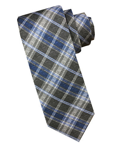 Perry Ellis Checkered Silk Tie-BLUE-One Size