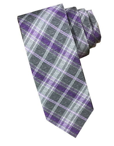 Perry Ellis Checkered Silk Tie-PURPLE-One Size