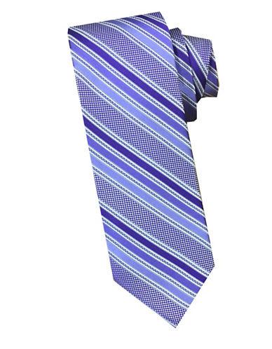 Perry Ellis Textured Stripe Silk Blend Tie-PURPLE-One Size