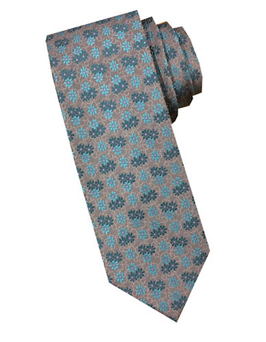 Perry Ellis Floral Silk Tie-TEAL-One Size
