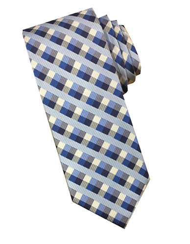 Perry Ellis Gingham Checkered Silk Tie-ROYAL-One Size