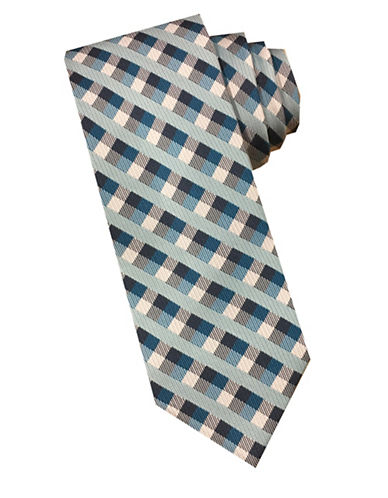 Perry Ellis Gingham Checkered Silk Tie-TEAL-One Size
