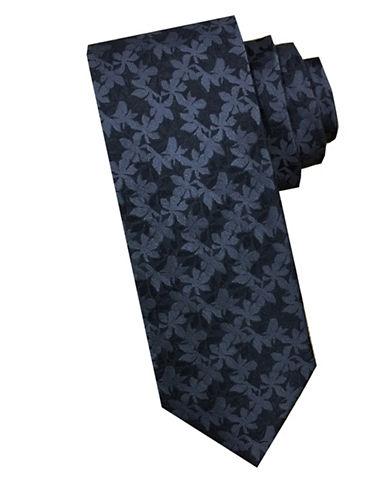 Perry Ellis Tonal Leaf Silk Tie-BLACK-One Size
