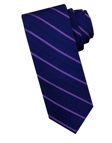 Perry Ellis Diagonal Stripe Silk Tie-PURPLE-One Size