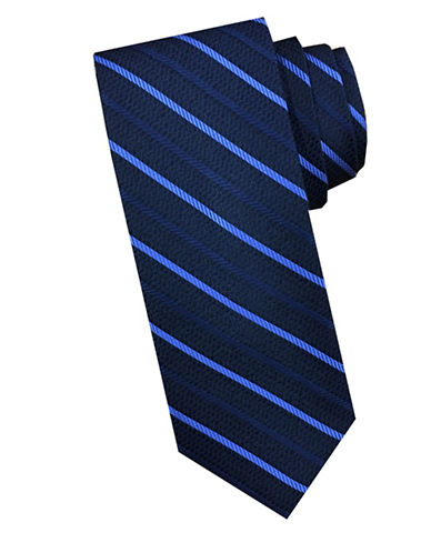 Perry Ellis Diagonal Stripe Silk Tie-BLUE-One Size