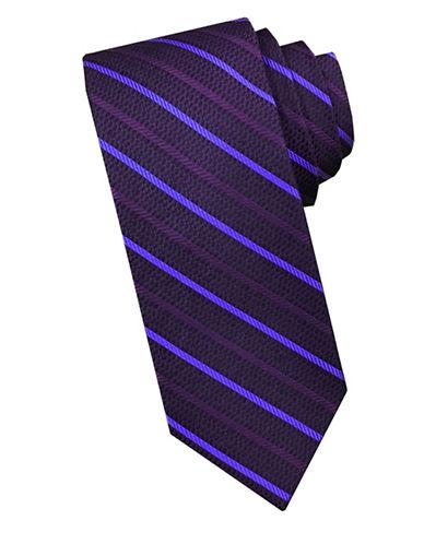 Perry Ellis Diagonal Stripe Silk Tie-DARK PURPLE-One Size