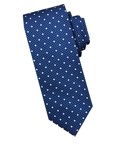 Perry Ellis Box Dot Silk Tie-BLUE-One Size