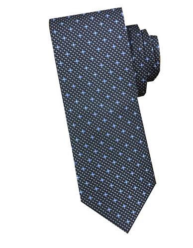 Perry Ellis Box Dot Silk Tie-GREY-One Size