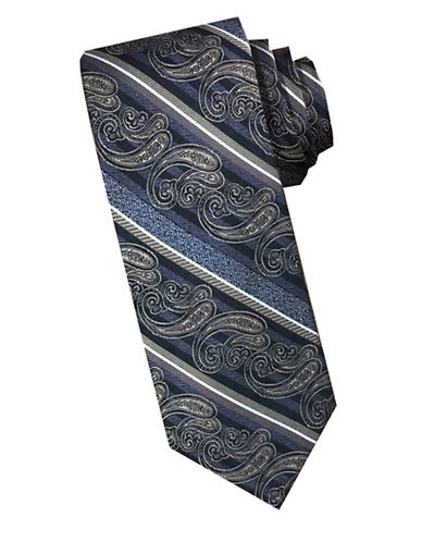 Perry Ellis Paisley Stripe Silk Tie-GREY/BROWN-One Size
