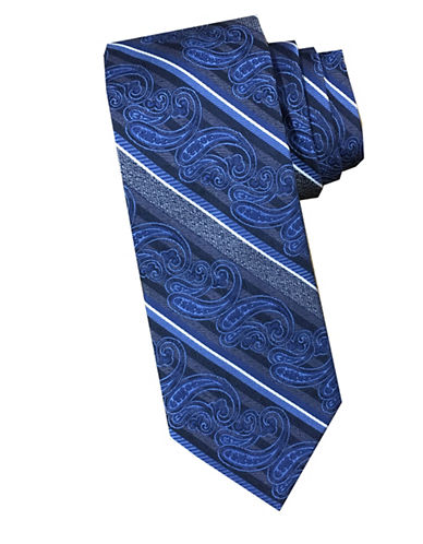 Perry Ellis Paisley Stripe Silk Tie-BLUE-One Size