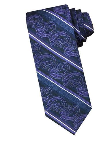 Perry Ellis Paisley Stripe Silk Tie-PURPLE-One Size