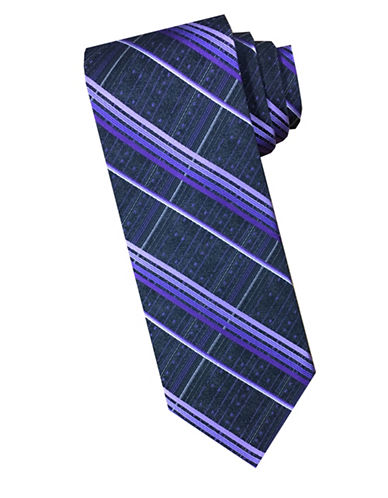 Perry Ellis Plaid Silk Tie-PURPLE-One Size
