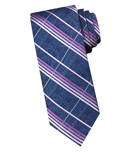 Perry Ellis Plaid Silk Tie-PINK-One Size