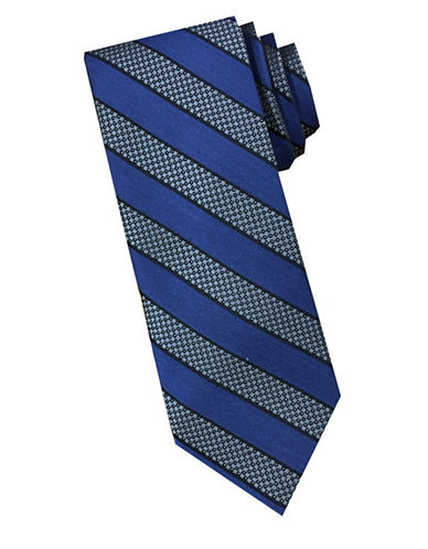 Perry Ellis Silk and Wool Striped Tie-BLUE-One Size