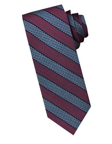 Perry Ellis Silk and Wool Striped Tie-RED-One Size