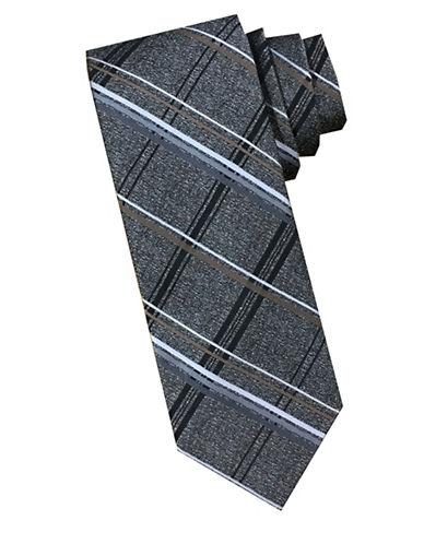 Perry Ellis Plaid Silk Tie-BROWN-One Size
