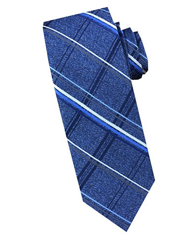 Perry Ellis Plaid Silk Tie-BLUE-One Size