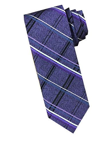 Perry Ellis Plaid Silk Tie-PURPLE-One Size