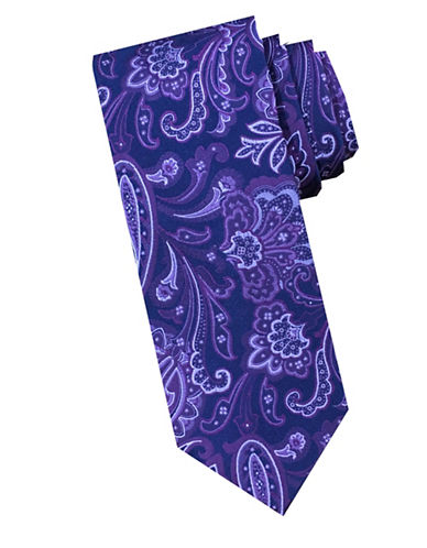 Perry Ellis Persian Paisley Silk Tie-PURPLE-One Size