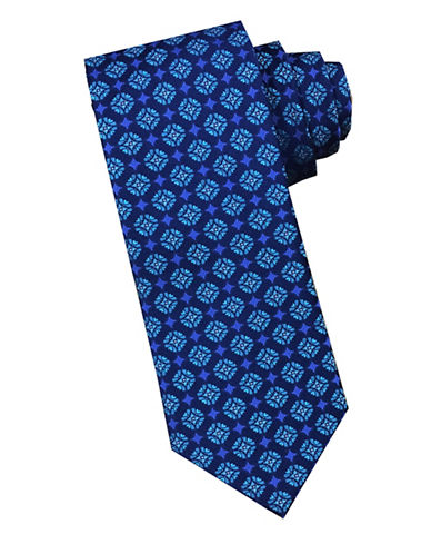 Perry Ellis Medallion Silk Tie-BLUE-One Size