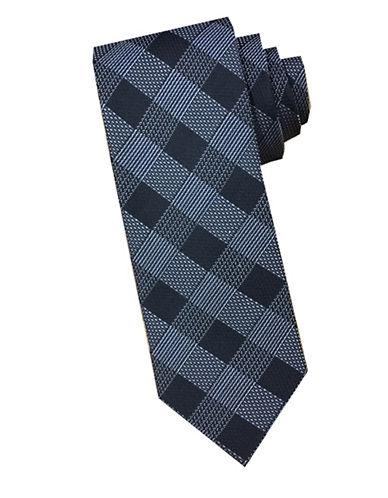 Perry Ellis Grid Silk Tie-GREY-One Size