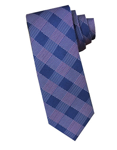 Perry Ellis Grid Silk Tie-PINK-One Size