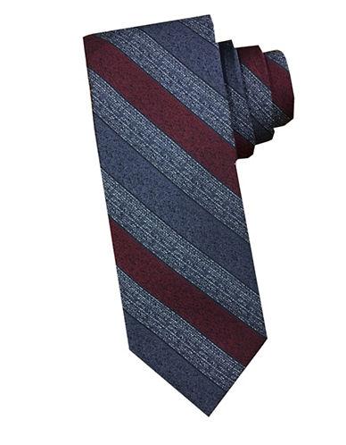 Perry Ellis Stripe Silk Tie-WINE-One Size