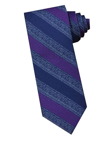 Perry Ellis Stripe Silk Tie-PURPLE-One Size
