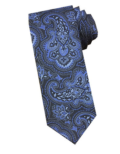 Perry Ellis Paisley Silk Tie-GREY-One Size