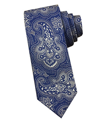 Perry Ellis Paisley Silk Tie-BEIGE-One Size