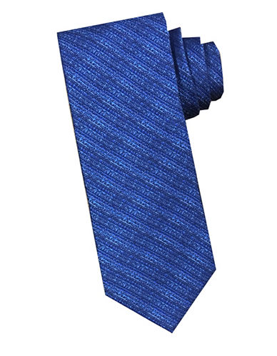 Perry Ellis Striped Silk Tie-BLUE-One Size