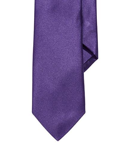 Impuntura Silk Satin Tie-PURPLE-One Size