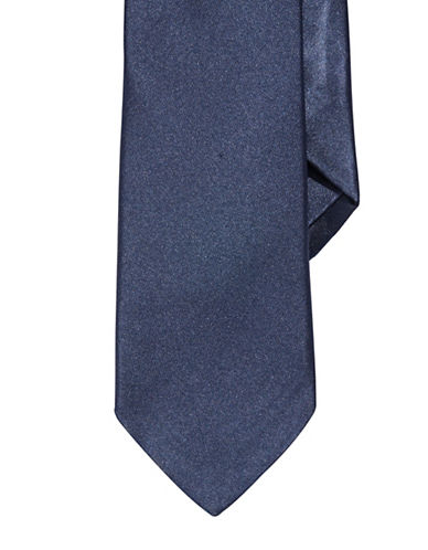 Impuntura Silk Satin Tie-NAVY-One Size