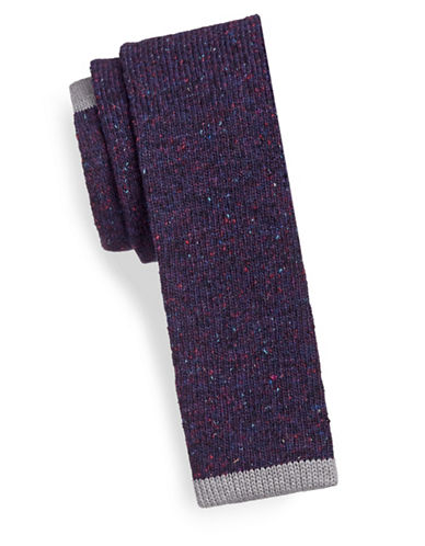 Impuntura Speckled Wool-Blend Knit Tie-PURPLE-One Size
