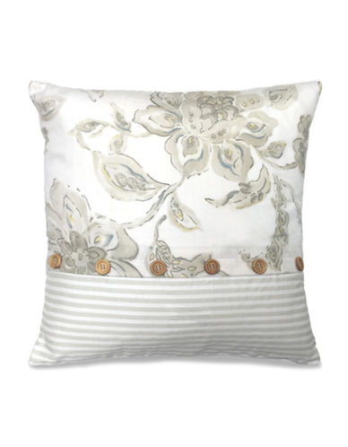Nautica Cypress Point Floral and Striped Decorative Cushion-TAUPE-18x18
