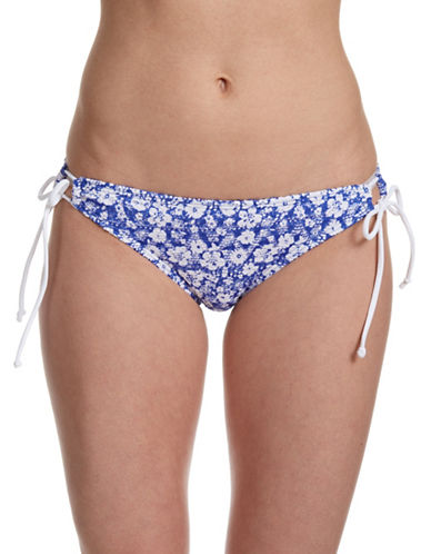 Design Lab Lord & Taylor Tulum Traveler Crochet String Tunnel Swim Bottoms-BLUE-X-Large