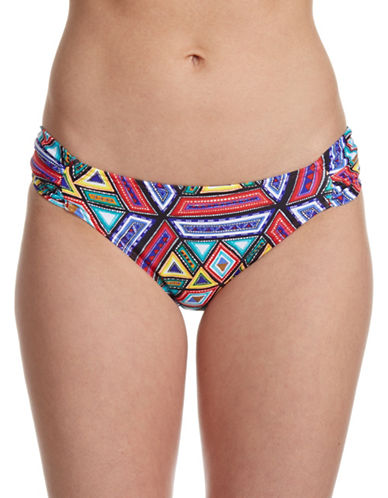 Design Lab Lord & Taylor Latin Quarter Shirred Hipster Swim Bottoms-MULTI-X-Large