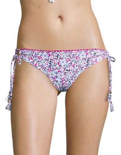 Design Lab Lord & Taylor Floral String Bikini Bottom-WHITE-Medium