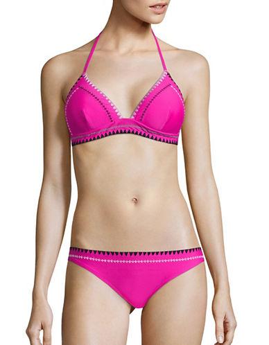 Design Lab Lord & Taylor Tri-Tone Stitched Triangle Bikini Top-PLUM-Medium