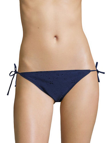 Design Lab Lord & Taylor St Tropez Cut-Out String Swim Bottom-NAVY-X-Large