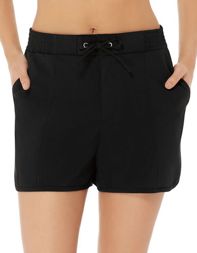 Christina Drawstring Swim Shorts-BLACK-14