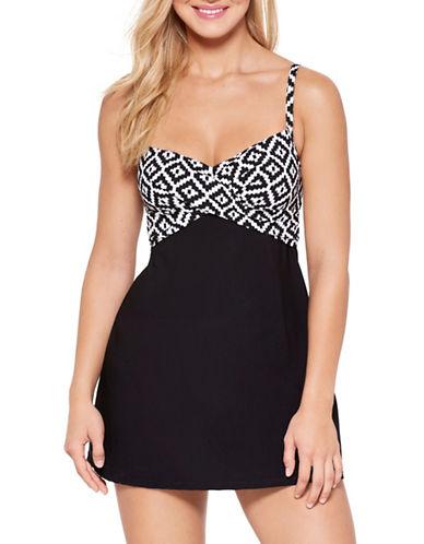 Christina Crossover Camisole Dresskini Top-BLK WHT-14