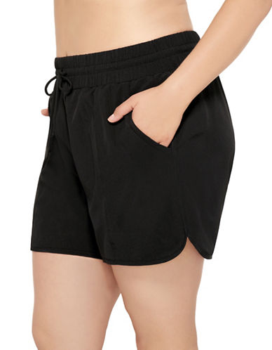 Christina Drawstring Swim Shorts-BLACK-3X