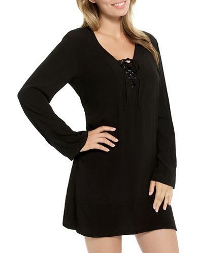Christina Long Sleeve Tunic-BLACK-Small