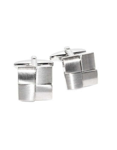 Black Brown 1826 Tone On Tone 4 Square Brass Cuff Links-SILVER-One Size